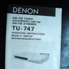 Radios antiguas: ELECTRONICA, INSTRUCCIONES, MANUAL - TNER AM FM - DENON TU747. Lote 43881425