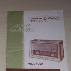 Radios antiguas: MANUAL DE INSTRUCCIONES, INSTRUCTION BOOK, DE RADIO GRUNDIG-MAJESTIC, 2077 USA.. Lote 43950835
