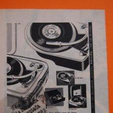 Radios antiguas: PUBLICIDAD ORIGINAL 1958 - COLECCION ELECTRONICA - TOCADISCOS PHILIPS - 1958 -. Lote 44225081