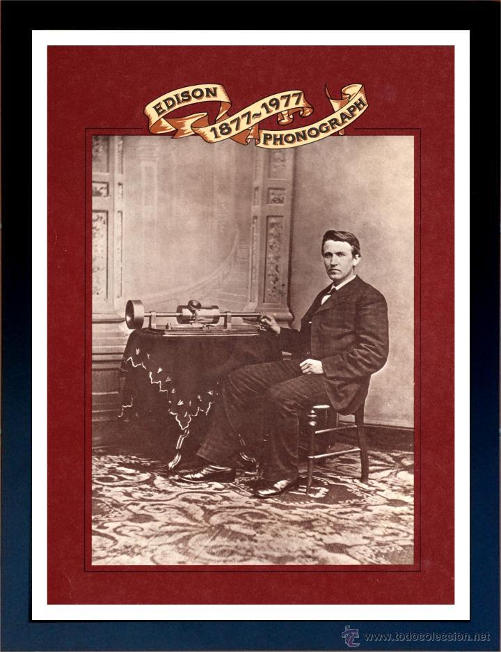 CUADRO PUBLICIDAD GRAMOFONO - THE EDISON PHONOGRAPH - ENMARCADO EN MADERA,43X33CM (Radios, Gramófonos, Grabadoras y Otros - Catálogos, Publicidad y Libros de Radio)