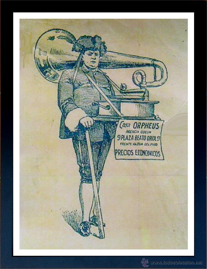 CUADRO PUBLICIDAD GRAMOFONO - CASA ORPHEUS - ENMARCADO EN MADERA, 43X33CM (Radios, Gramófonos, Grabadoras y Otros - Catálogos, Publicidad y Libros de Radio)
