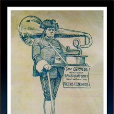 Radios antiguas: CUADRO PUBLICIDAD GRAMOFONO - CASA ORPHEUS - ENMARCADO EN MADERA, 43X33CM. Lote 44716858