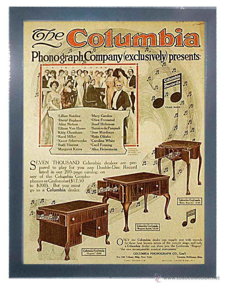 CUADRO PUBLICIDAD GRAMOFONO - THE COLUMBIA - ENMARCADO EN MADERA, 43X33CM (Radios, Gramófonos, Grabadoras y Otros - Catálogos, Publicidad y Libros de Radio)