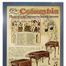 Radios antiguas: CUADRO PUBLICIDAD GRAMOFONO - THE COLUMBIA - ENMARCADO EN MADERA, 43X33CM. Lote 44716878