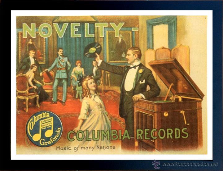 CUADRO PUBLICIDAD GRAMOFONO - COLUMBIA RECORDS - ENMARCADO EN MADERA 43X33CM (Radios, Gramófonos, Grabadoras y Otros - Catálogos, Publicidad y Libros de Radio)