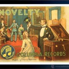 Radios antiguas: CUADRO PUBLICIDAD GRAMOFONO - COLUMBIA RECORDS - ENMARCADO EN MADERA 43X33CM. Lote 44716891