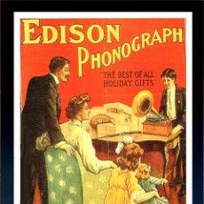 Radios antiguas: CUADRO PUBLICIDAD GRAMOFONO - EDISON PHONOGRAPH - ENMARCADO EN MADERA, 43X33CM. Lote 44716957
