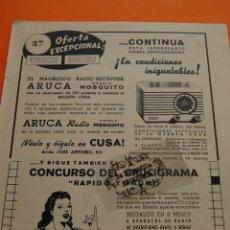 Alte Radios - PUBLICIDAD ORIGINAL - AÑO 1949 - RADIO RECEPTOR aruca MODELO MOSQUITO - 44722605