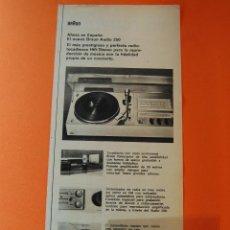 Radios antiguas: PUBLICIDAD REVISTA AÑO 1970 - BRAUN AUDIO 250 HIFI/STEREO. Lote 44819387