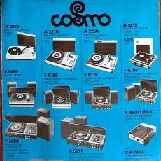 Radios antiguas: CATALOGO COSMO TOCADISCOS,INDUSTRIAS COSMO, S.A. BARCELONA 1976 MUY RARO 1 HOJA. Lote 44912349