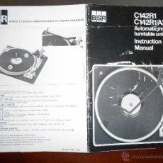 Rádios antigos: CATALOGO DEL TOCADISCOS: BSR MODELO C142R1 Y C142R1/A3. Lote 46288348