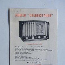 Radios antiguas: RADIO SIDERAL - MODELO CONQUISTADOR / HOJA CARACTERISTICAS - PUBLICIDAD / AÑO 1953 / ZARAGOZA. Lote 48291444