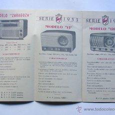 Radios antiguas: RECEPTORES SIDERAL / FOLLETO CATALOGO 1953 / RADIO - GRAMOLA / CARACTERISTICAS / ZARAGOZA. Lote 48291439
