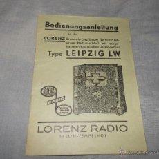 Radios antiguas: INSTRUCCIONES DE USO DE RADIO LORENZ. Lote 47330248