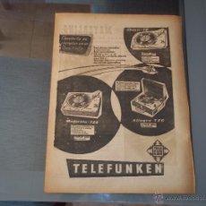 Radios antiguas: ANTIGUA HOJA PUBLICIDAD PARA ENMARCAR GRAMOFONOS TELEFUNKEN 31,5 X 23,5 CM. Lote 47918447