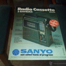 Radios antiguas: ANTIGUA HOJA PUBLICIDAD PARA ENMARCAR RADIO CASSETTE 3 BANDAS SANYO COLECCION 18,5 X 13,5 CM. Lote 47987610