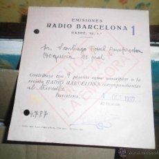 Radios antiguas: RADIO BARCELONA BILINGUE CASPE 1 EMISIONES 1937 PLENA GUERRA CIVIL CATALAN CASTELLANO. Lote 48225643