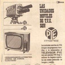 Radios antiguas: ANUNCIO PUBLICITARIO *UNIDADES MOVILES DE T.V.E PYE* (1964) - DIST. EN BARCELONA Y PROVINCIA. Lote 36624924