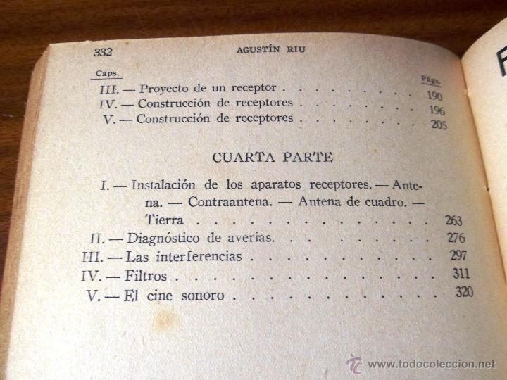 Radios antiguas: RADIO RECEPCIÓN MODERNA. POR AGUSTÍN RUI. (1934) LIBERÍA SINTES. BARCELONA. (ver índice) - Foto 9 - 48575315
