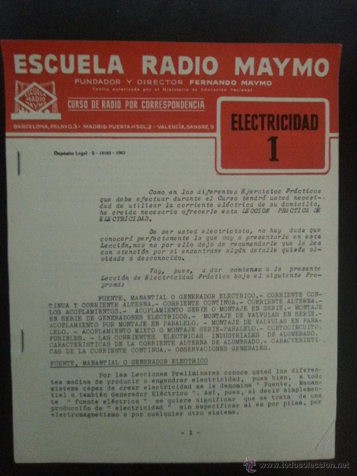 ELECTRICIDAD 1. ESCUELA RADIO MAYMO. 1963. (Radios, Gramófonos, Grabadoras y Otros - Catálogos, Publicidad y Libros de Radio)