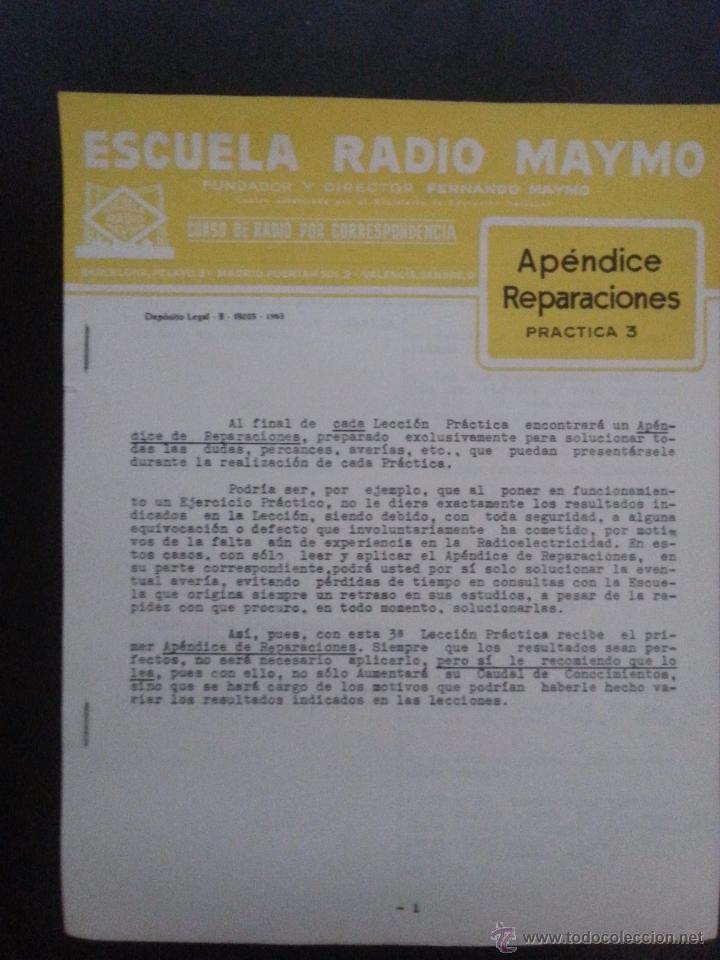 APENDICE REPARACIONES. PRÁCTICA 3. ESCUELA RADIO MAYMO 1963 (Radios, Gramófonos, Grabadoras y Otros - Catálogos, Publicidad y Libros de Radio)