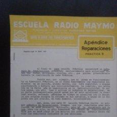 Radios antiguas: APENDICE REPARACIONES. PRÁCTICA 3. ESCUELA RADIO MAYMO 1963. Lote 48697234