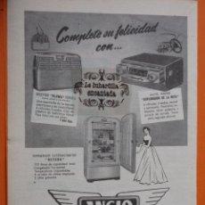 Radios antiguas: PUBLICIDAD 1954 - COLECCION ELECTRONICA - ANGLO GAMA RADIOS. Lote 49145128