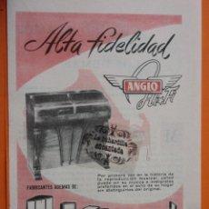 Radios antiguas: PUBLICIDAD 1957 - COLECCION ELECTRONICA - ANGLO ALTA FIDELIDAD. Lote 49145148