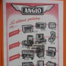 Radios antiguas: PUBLICIDAD 1956 - COLECCION ELECTRONICA - ANGLO GAMA. Lote 49145151