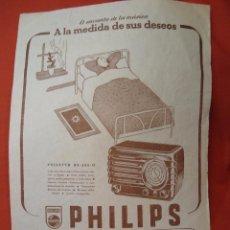Radios antiguas: CARTEL PUBLICITARIO PHILIPS RADIO PHILETTA BE-282-U AÑOS 40 MIDE 31 X 22 CM.. Lote 49325535
