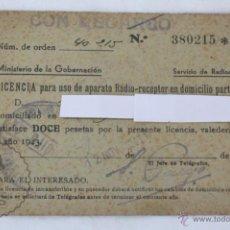 Radios antiguas: ANTIGUA LICENCIA PARA USO DE APARATO RADIO-RECEPTOR, AÑO 1943 - MEDIDAS 12 X 8,5 CM. Lote 49535836