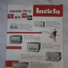 Radios antiguas: CURIOSO CATÁLOGO PUBLICIDAD RADIOS - INVICTA - TELEVISOR - TOCADISCOS -CATÁLOGO AÑO 1959 -13 MODELOS. Lote 50365311