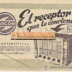 Radios antiguas: ANUNCIO * RADIO MARCONI B-73 * RADIO MARCA ( CALELLA ). Lote 50382189