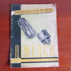 Radios antiguas: CARACTERISTICAS DE VALVULAS RIMLOCH. Lote 50655597