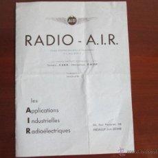 Radios antiguas: RADIO A.I.R.CATALOGO DE RADIOS CON TARIFA DE PRECIOS DE EPOCA 1935. Lote 50861597
