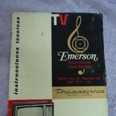 Radios antiguas: CATALOGO INSTRUCIONES TECNICAS EMERSON TELEVISION Y RADIO PHILADELPHIA MODELO. Lote 51632839