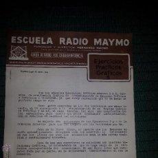 Radios antiguas: EJERCICIOS PRÁCTICOS GRÁFICOS 3 - CURSO DE RADIO - MAYMO 1963. Lote 51743568