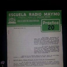 Radios antiguas: PRACTICA 20- CURSO DE RADIO - MAYMO 1963. Lote 51745197