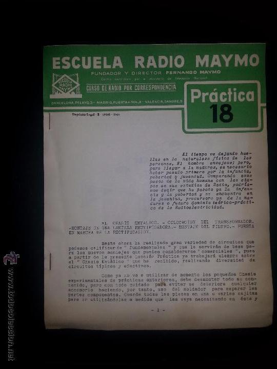PRACTICA 18- CURSO DE RADIO - MAYMO 1963 (Radios, Gramófonos, Grabadoras y Otros - Catálogos, Publicidad y Libros de Radio)
