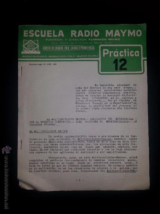 PRACTICA 12- CURSO DE RADIO - MAYMO 1963 (Radios, Gramófonos, Grabadoras y Otros - Catálogos, Publicidad y Libros de Radio)