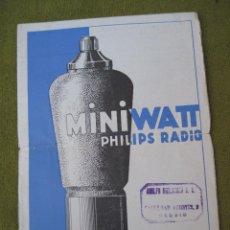 Radios antiguas: CATALOGO VALVULAS RECEPTORAS PHILIPS - MINIWATT - RADIO.. Lote 52770977