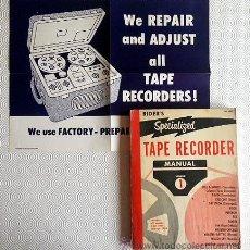 Radios antiguas: MANUAL MAGNETOFONES: TODOS LOS MODELOS, DESDE 1950 Á 1954. (RIDER'S SPECIALIZED TAPE RECORDER MANUAL. Lote 53882246