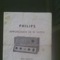 Radios antiguas: MANUAL ANTIGUO AMPLIFICADOR PHILIPS 2808/04 MUY BUSCADO-RAREZA. Lote 53883562