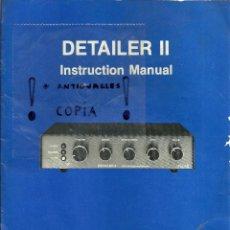 Radios antiguas: MANUAL DE INSTRUCCIONES DETAILER II. Lote 54161553