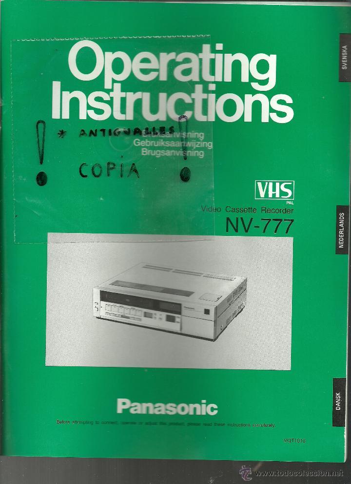 manual de instrucciones vhs panasonic nv 777 comprar cat logos de rh todocoleccion net manual de instrucciones panasonic kx-tg2511sp manual de instrucciones panasonic lumix dmc-fz72