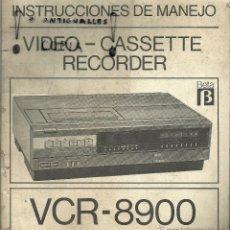 Radios antiguas: MANUAL DE INSTRUCCIONES VIDEO-CASSETTE SONITRON BETA VCR-8900. Lote 54234141