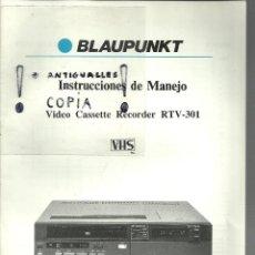 Radios antiguas: MANUAL DE INSTRUCCIONES VIDEO CASSETTE RECORDER RTV-301 VHS.. Lote 54254118