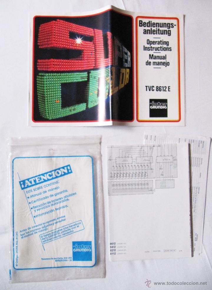 INTER GRUNDIG TVC 8612 E - MANUAL DE MANEJO Y ESQUEMA TELEVISOR Y DOCUMENTACION (Radios, Gramófonos, Grabadoras y Otros - Catálogos, Publicidad y Libros de Radio)