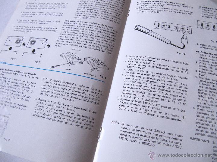 Radios antiguas: MANUAL DE INSTRUCCIONES SANYO M2420FZ M 2420 FZ - EN CASTELLANO - Foto 3 - 54418826