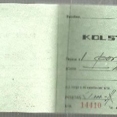 Radios antiguas: TALONARIO KOLSTER IBERICA S.A.,CHEQUE REGALO 1000 PSTA,TOCADISCOS KOLSTER K-70 AÑO 1970. Lote 54475650